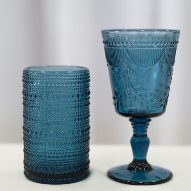 Where to find GLASS, BLUE DEB GOBLET 10OZ. in Lexington